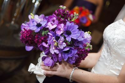 Beautiful bouquet with purple flowers